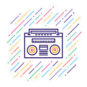 Line vector illustration of retro music player.