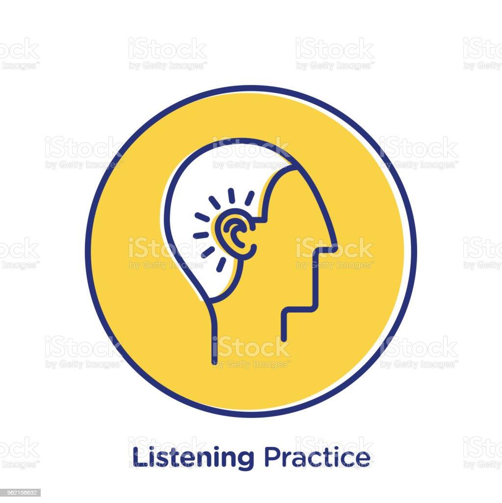 Listening Practice vector art illustration