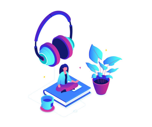listening to music - modern colorful isometric vector illustration - tylko dorośli stock illustrations