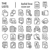 Lists line icon set, documents symbols collection, vector sketches, logo illustrations, paper signs linear pictograms package isolated on white background, eps 10