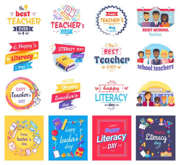 ilustrações, clipart, desenhos animados e ícones de conjunto de adesivos isolados dia de alfabetização e professores - professor