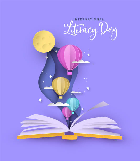 illustrazioni stock, clip art, cartoni animati e icone di tendenza di literacy day open book papercut hot air balloon - personaggio fantastico