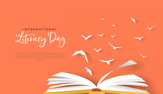 Literacy day papercut card open book birds flying