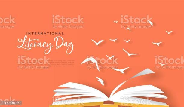 Literacy Day Papercut Card Open Book Birds Flying - Arte vetorial de stock e mais imagens de Aberto