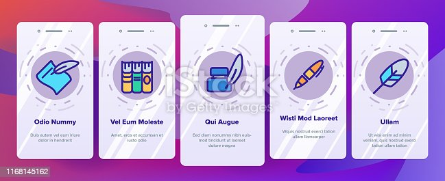 Literacy Linear Vector Onboarding Mobile App Page Screen. Humanities Pictograms Collection. Reading and Writing, School Education, University Study. Stationery Outline Illustrations