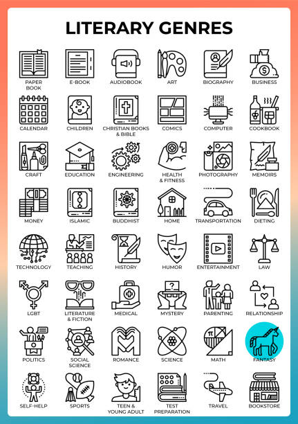 Literary Genres icons vector art illustration