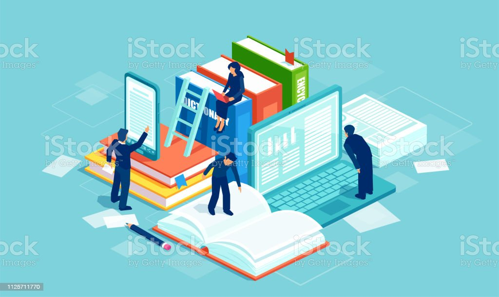 Literature and digital culture. Vector of people reading books using modern technology. Dictionary, modern library and web archive. Literature and digital culture. Vector of people reading books using modern technology. Adult stock vector