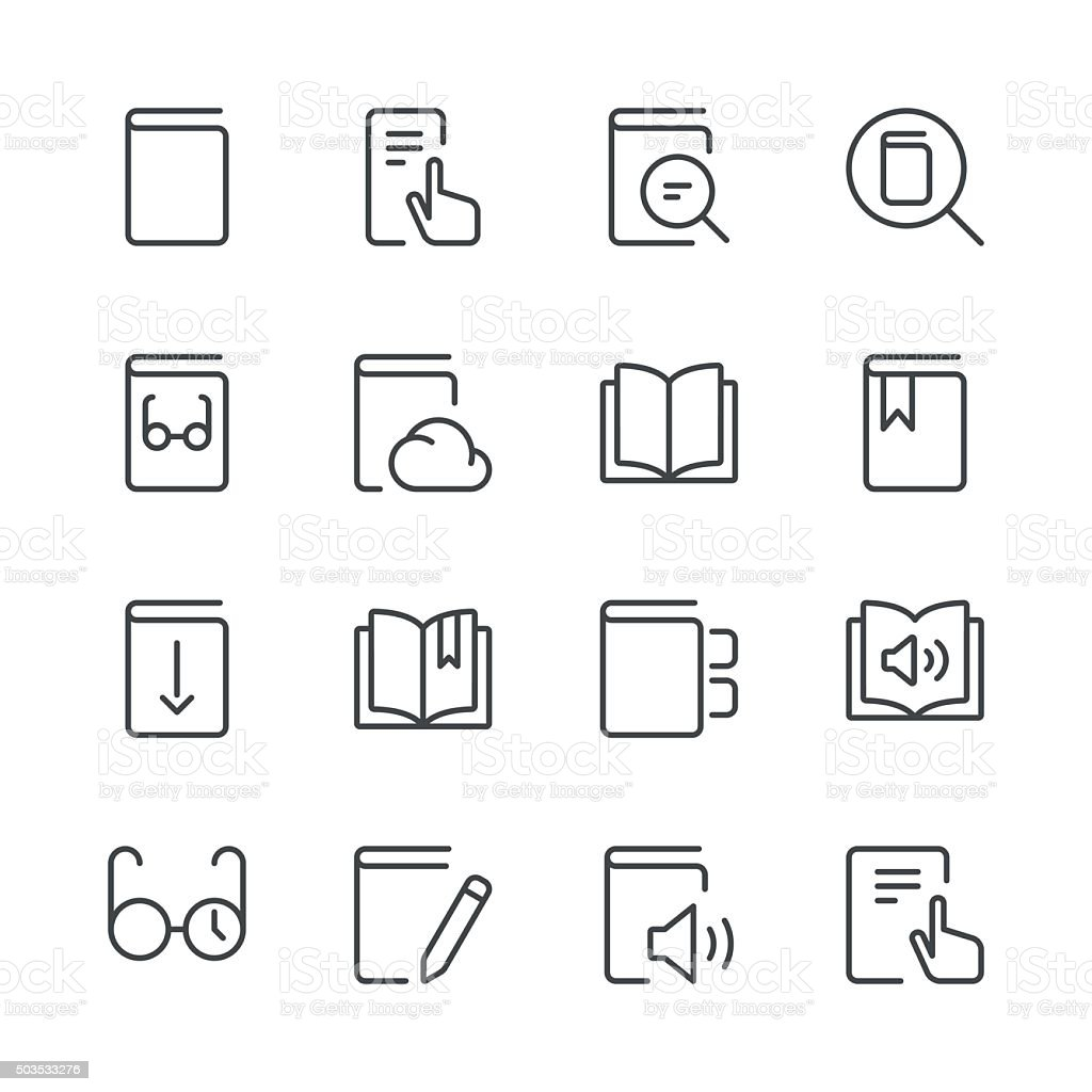 Literature and e-reading icons set 1 | Black Line series vector art illustration