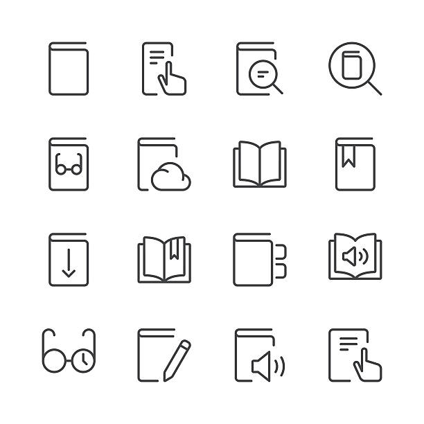 Literature and e-reading icons set 1 | Black Line series vector art illustration
