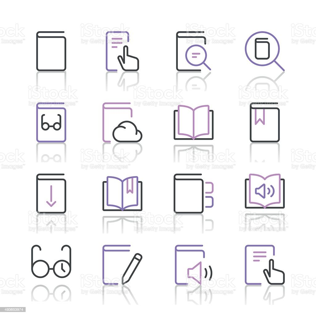 Literature and e-reading icons set 1 | Purple Line series vector art illustration