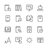 Literature and e-reading icons set 2 | Black Line series