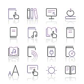 Literature and e-reading icons set 2 | Purple Line series