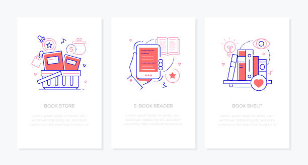 Literature and online reading concept - line design style banners vector art illustration