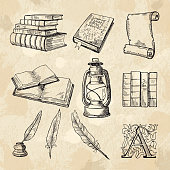 Literature concept pictures. Vintage hand drawings books and different tools for writers. Literature book sketch, hand drawing literary and feather pen with inkwell. Vector illustration