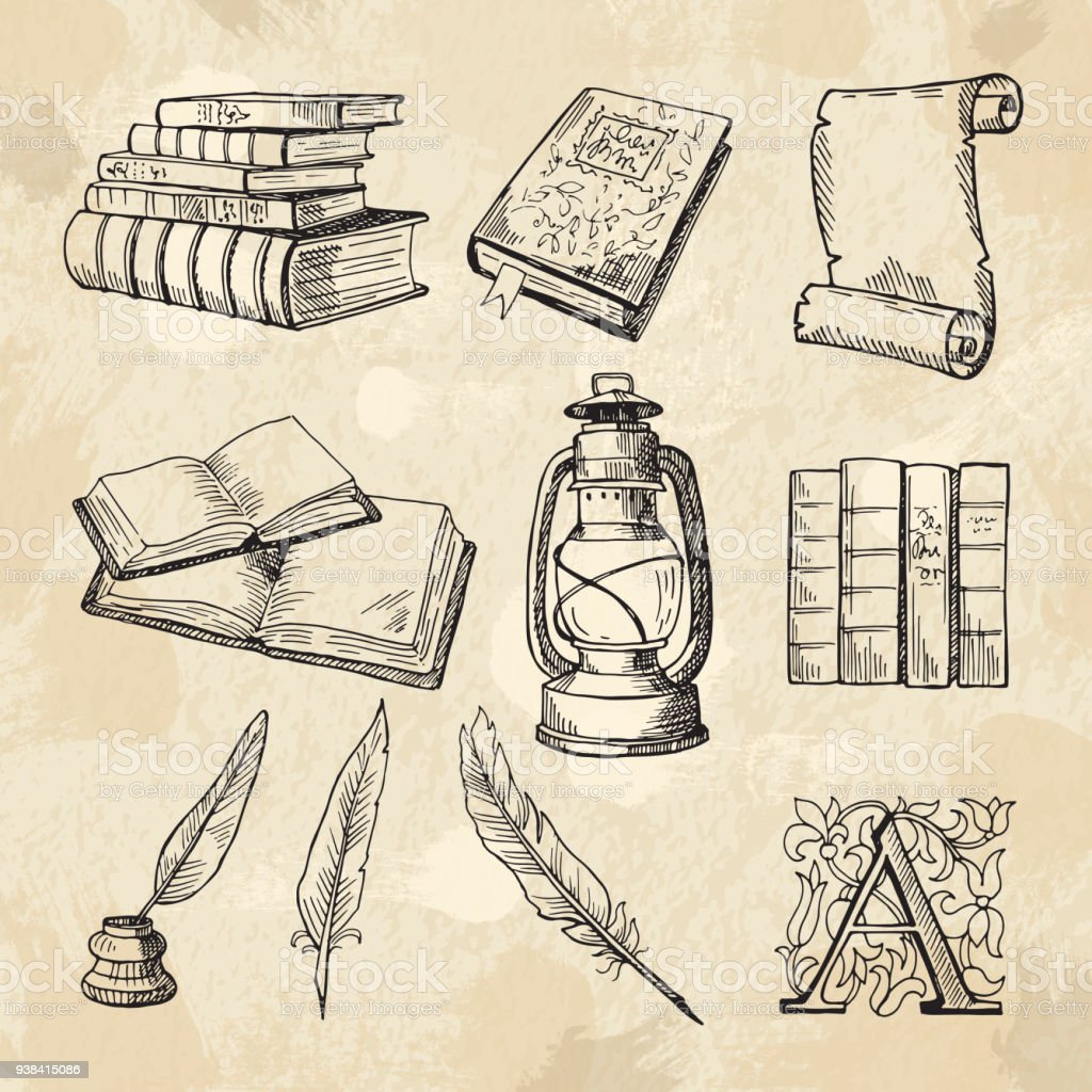 Literature concept pictures. Vintage hand drawings books and different tools for writers vector art illustration