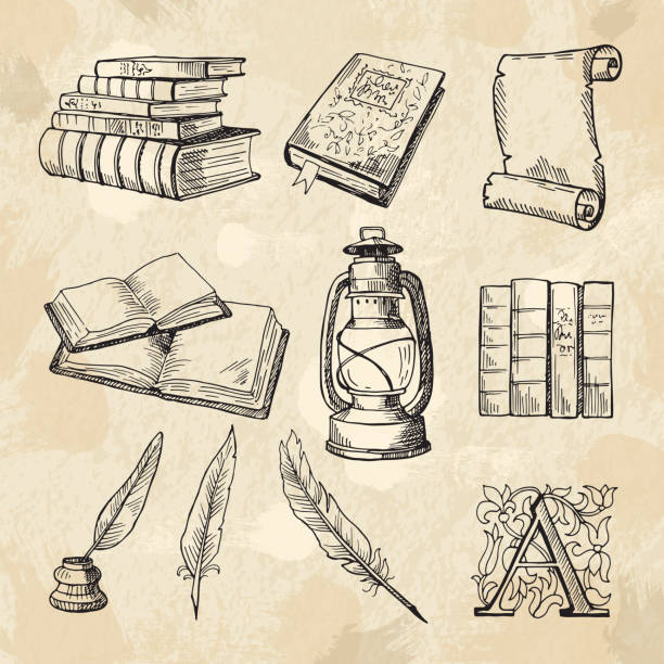 literature concept pictures. vintage hand drawings books and different tools for writers - book clipart stock illustrations
