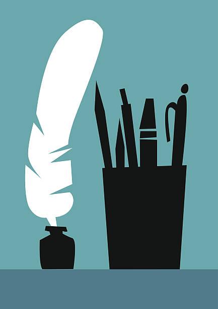 Bibliografía, silhouette, lápiz, la pluma, el rotulador y marcador. - ilustración de arte vectorial