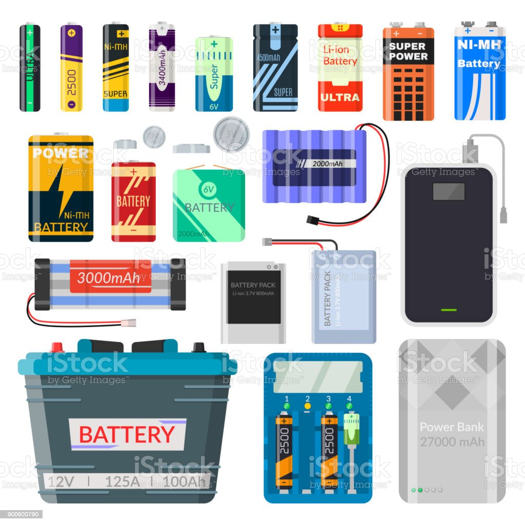 Lithium batteries set Lithium batteries set. Different types of batteries, rechargeable, source to power consumer goods, mobile phones, toys, cars. Vector flat style cartoon illustration isolated on white background Acid stock vector