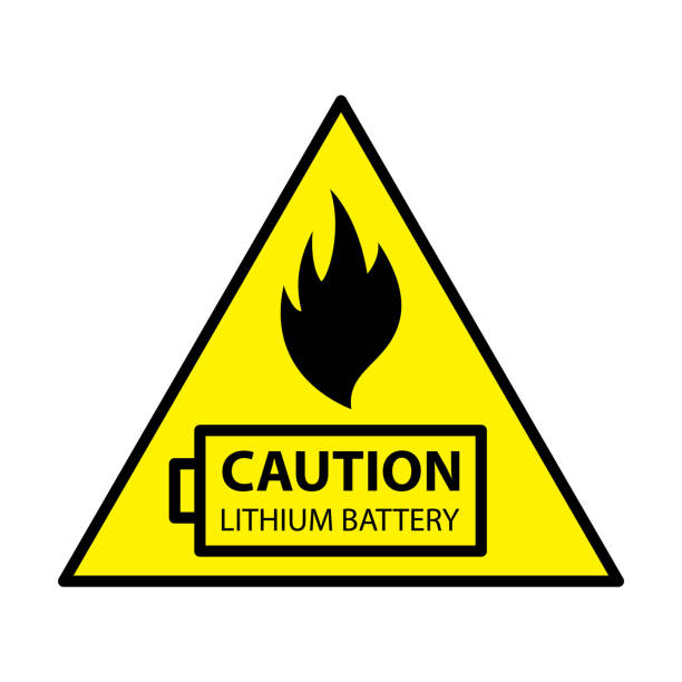 lithium ion battery Caution Vector illustration. lithium stock illustrations