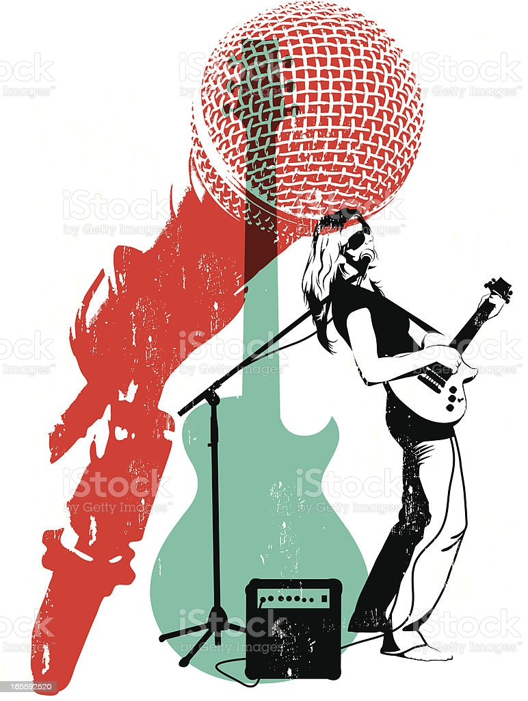 Litho Musician vector art illustration