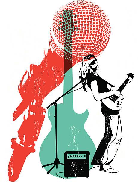 Litho Musician vector art illustration