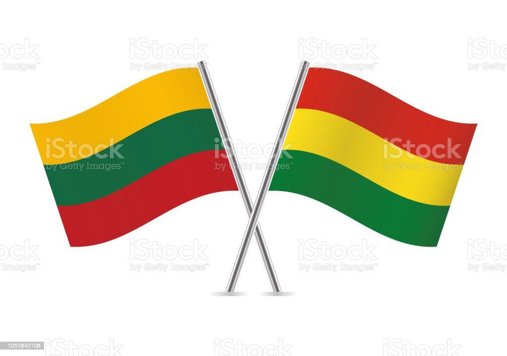Banderas de Lituania y Bolivia. Ilustración de vector. - ilustración de arte vectorial