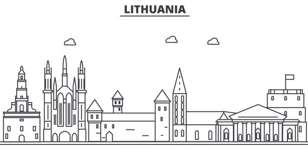 Lithuania architecture line skyline illustration. Linear vector cityscape with famous landmarks, city sights, design icons. Landscape wtih editable strokes Lithuania architecture line skyline illustration. Linear vector cityscape with famous landmarks, city sights, design icons. Editable strokes lithuania stock illustrations