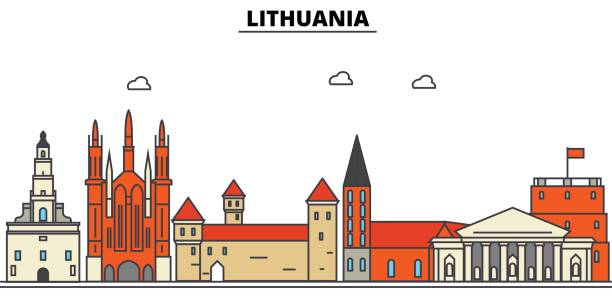 Lithuania, . City skyline: architecture, buildings, streets, silhouette, landscape, panorama, landmarks. Editable strokes. Flat design line vector illustration concept. Isolated icons set Lithuania, . City skyline: architecture, buildings, streets, silhouette, landscape, panorama, landmarks. Editable strokes. Flat design line vector illustration concept. Isolated icons lithuania stock illustrations