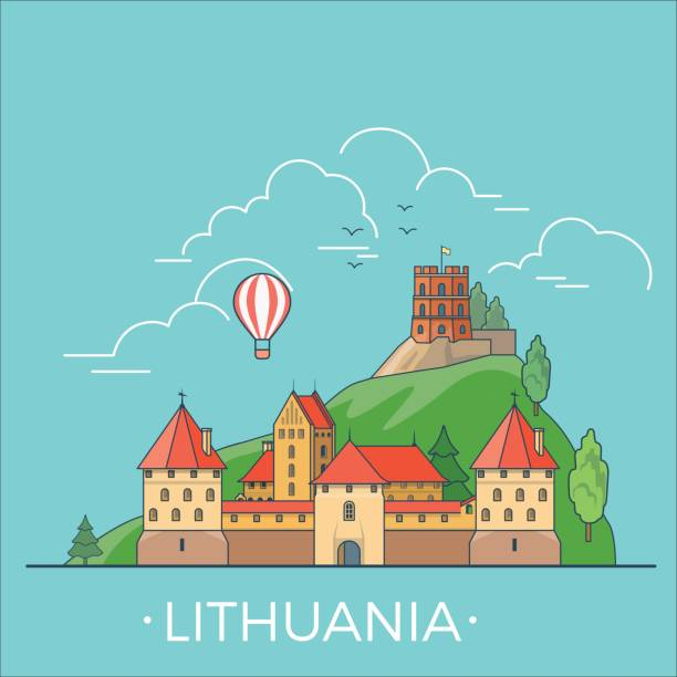 Lithuania country design template. Linear Flat famous historic sight; cartoon style web site vector illustration. World travel and showplace in Europe, European vacation collection. Lithuania country design template. Linear Flat famous historic sight; cartoon style web site vector illustration. World travel and showplace in Europe, European vacation collection. lithuania stock illustrations