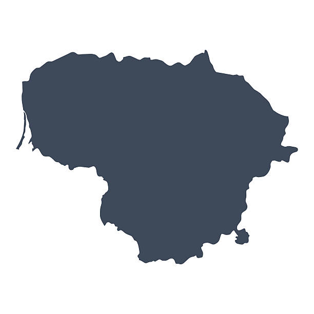 Lithuania country map A graphic illustrated vector image showing the outline of the country Lithuania. The outline of the country is filled with a dark navy blue colour and is on a plain white background. The border of the country is a detailed path.  lithuania stock illustrations