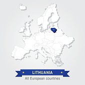 Lithuania. Europe administrative map.