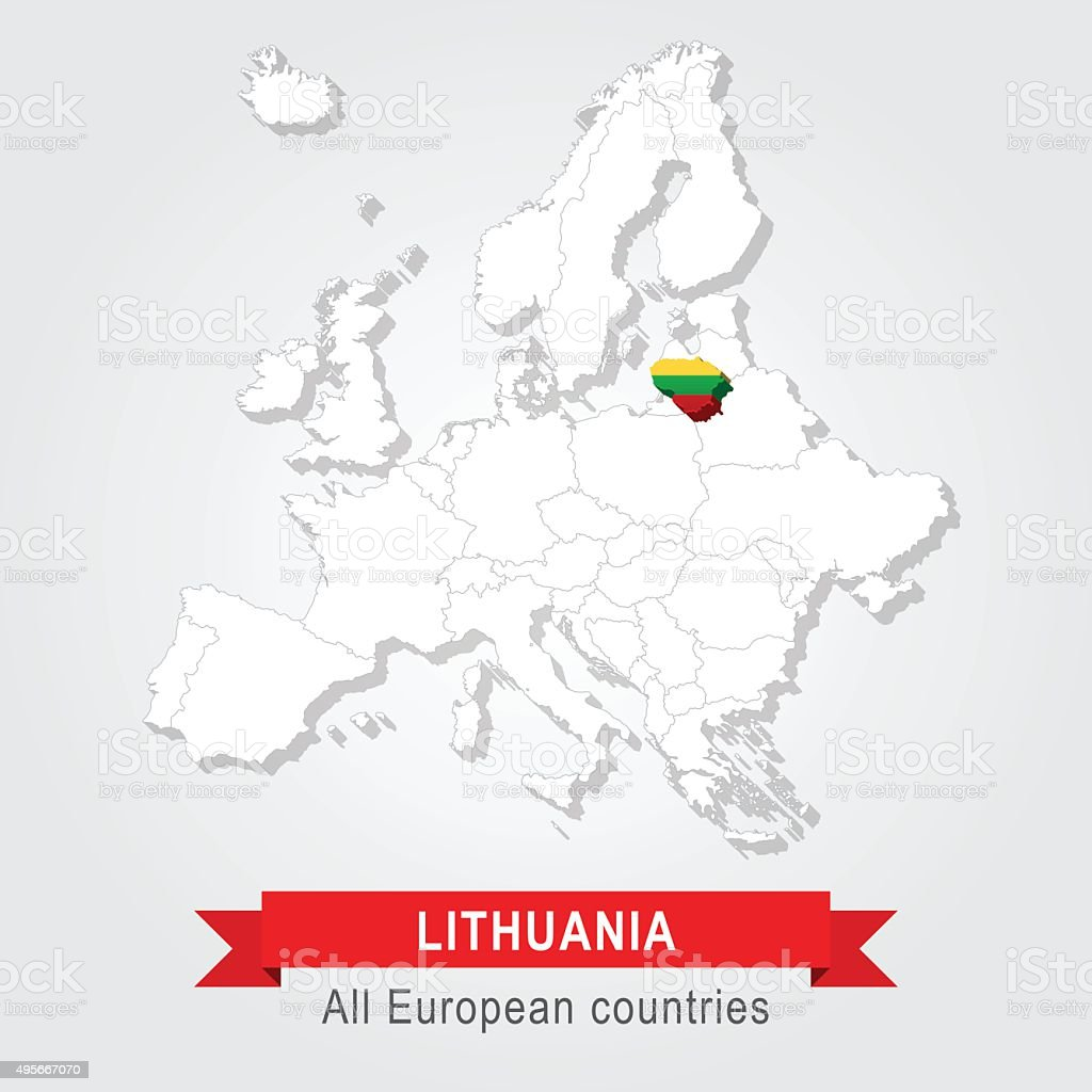 Lithuania Europe Administrative Map Stock Vector Art More Images