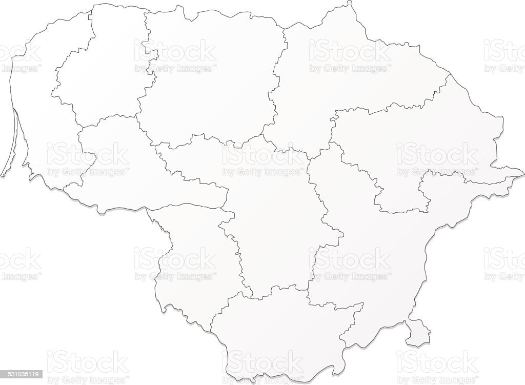 Lithuania Map Grey On White Background Stock Vector Art - Lithuania map vector