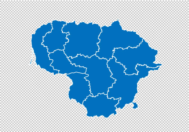 lithuania map - High detailed blue map with counties/regions/states of lithuania. nepal map isolated on transparent background. lithuania map - High detailed blue map with counties/regions/states of lithuania. nepal map isolated on transparent background. lithuania stock illustrations