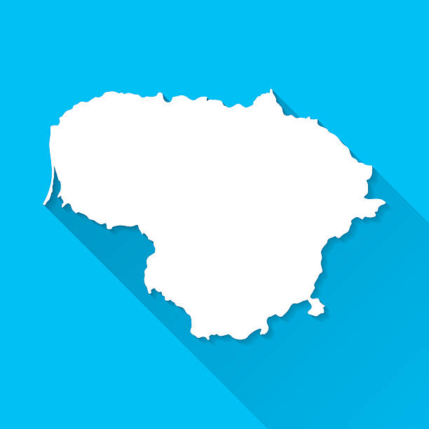 Lithuania Map on Blue Background, Long Shadow, Flat Design Map of Lithuania. lithuania stock illustrations