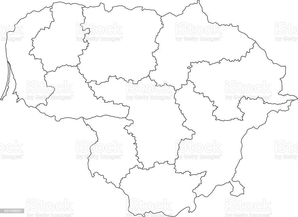 Lithuania Map Outline White Background Stock Vector Art - Lithuania map vector