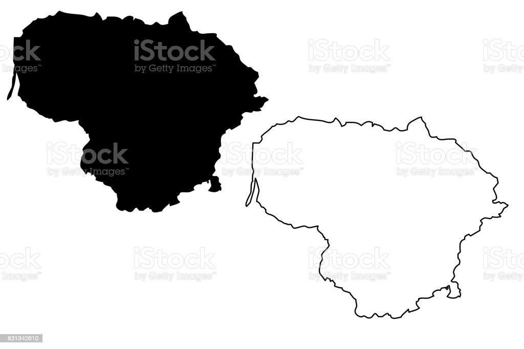 Lithuania Map Vector Stock Vector Art IStock - Lithuania map vector