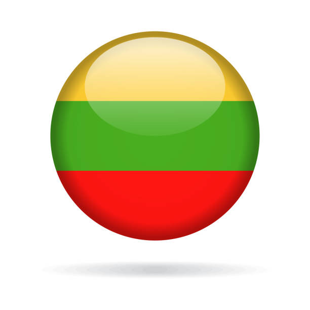 Lithuania - Round Flag Vector Glossy Icon Lithuania - Round Flag Vector Glossy Icon lithuania stock illustrations