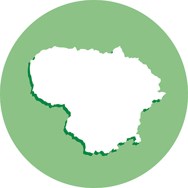 Lithuania Round Map Icon Vector illustration of a white Lithuania map with shadow in a green circle. lithuania stock illustrations