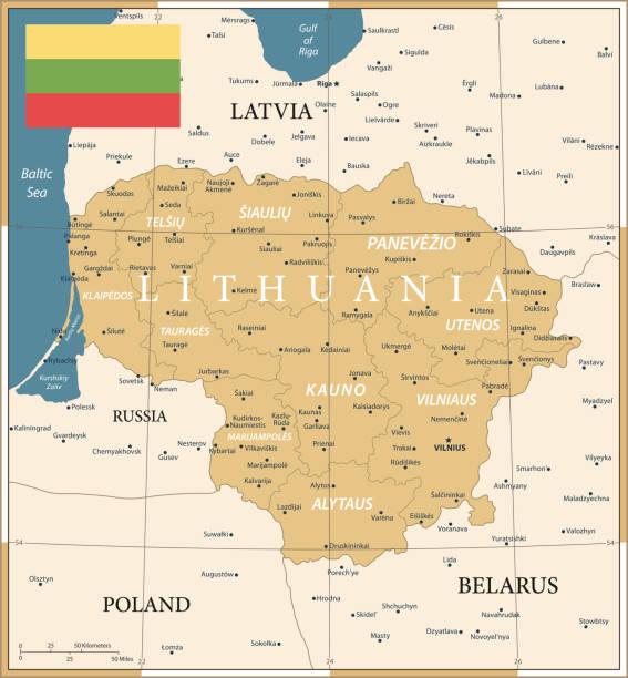 22 - Lithuania - Vintage Golden Dark 10 Map of Lithuania - Vintage Vector illustration lithuania stock illustrations
