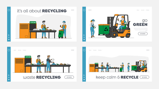 Litter Industry Landing Page Template Set Characters Work on Waste Recycling Plant with Containers for Garbage Separation and Forklift Truck to Reduce Eco Pollution. Linear People Vector Illustration