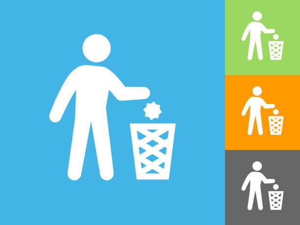 Littering flache Symbol auf blauem Hintergrund – Vektorgrafik