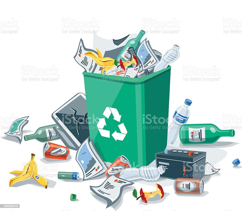 Tirar basura basura en el compartimiento poner verde aislado sobre un fondo blanco - ilustración de arte vectorial