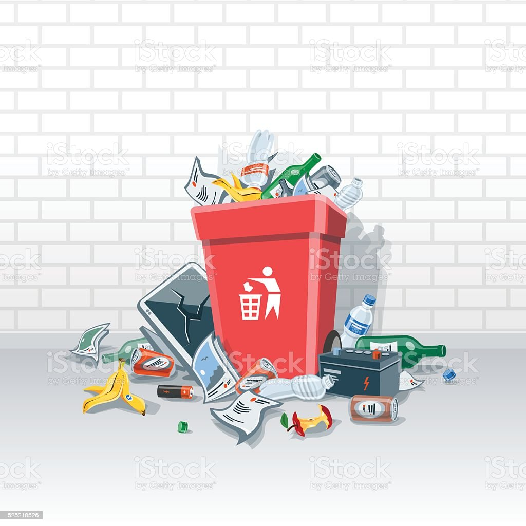 Littering Garbage around the Trash Bin on the Street vector art illustration