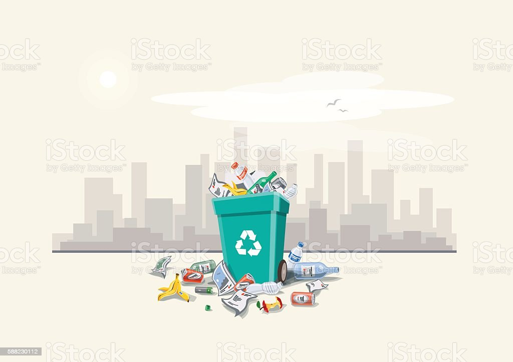 Littering Garbage around the Trash Bin on the Street vector art illustration