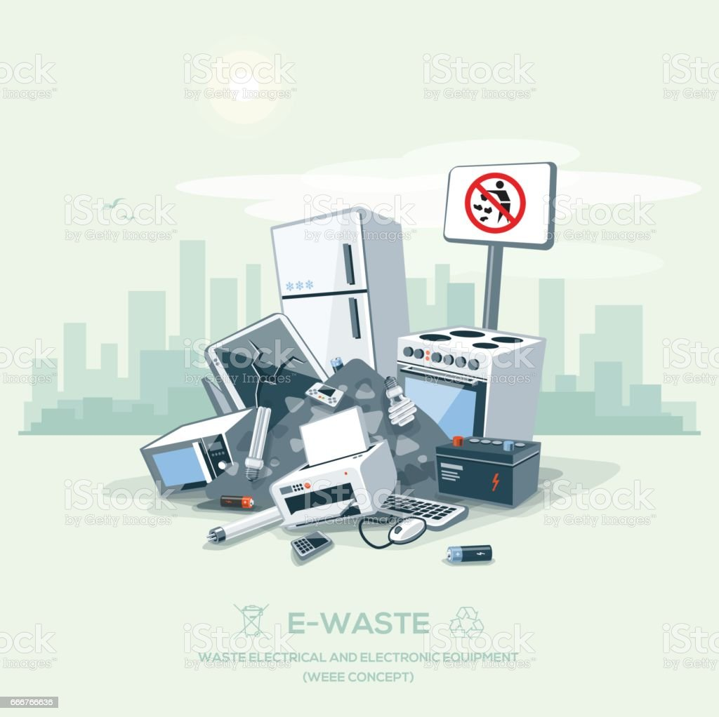 Littering Garbage E-waste Stack on the Street Road vector art illustration