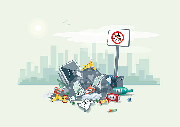 Littering Garbage Trash Stack on the Street Road Vector illustration of littering waste pile that have been disposed improperly, without consent, at an inappropriate location around on the street exterior with city skyscrapers skyline in the background. Trash is fallen on the ground and creates a big stack, cartoon style. obsolete stock illustrations
