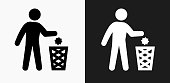 Littering Icon on Black and White Vector Backgrounds. This vector illustration includes two variations of the icon one in black on a light background on the left and another version in white on a dark background positioned on the right. The vector icon is simple yet elegant and can be used in a variety of ways including website or mobile application icon. This royalty free image is 100% vector based and all design elements can be scaled to any size.