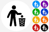 Littering Icon on Flat Color Circle Buttons. This 100% royalty free vector illustration features the main icon pictured in black inside a white circle. The alternative color options in blue, green, yellow, red, purple, indigo, orange and black are on the right of the icon and are arranged in two vertical columns.