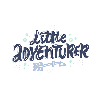 Little adventurer freehand decorative color vector lettering. Hand drawn inscription calligraphy isolated on white background. Arrow, dots and spots design element. Child t shirt design idea